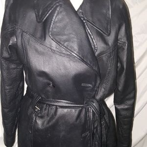 Black Leather stadium jacket